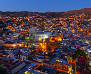 Colonial Scene Posters - Guanajuato Mexico by Night Poster by Douglas J Fisher
