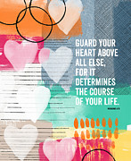 Guard Your Heart- Contemporary Scripture Art Print by Linda Woods