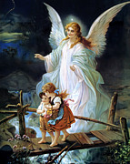 Bridge Painting Framed Prints - Guardian Angel and Children Crossing Bridge Framed Print by Lindberg Heilige Schutzengel