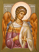 Byzantine Painting Prints - Guardian Angel Print by Julia Bridget Hayes