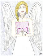 Pencil Drawing Pastels Posters - Guardian Angel Poster by Marissa McAlister
