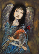 Angels Painting Originals - Guardian Angel Of Pheasants by Angel  Tarantella
