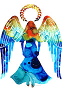 Halo Mixed Media Framed Prints - Guardian Angel - Spiritual Art Painting Framed Print by Sharon Cummings