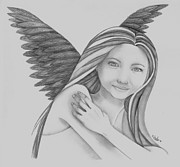 Angel Drawings - Guardian by Angel Surber