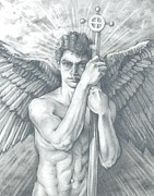 Angel Drawings - Guardian Angel Watching by Karina Griffiths