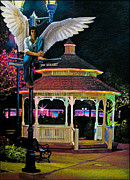 Night Lamp Pastels Prints - Guardian of Teens Print by Jeff  Spicer