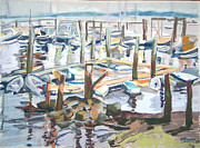 Maine Coast Pastels Posters - Guardians of the Harbor Poster by Grace Keown