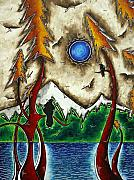 Wildlife Landscape Paintings - GUARDIANS OF THE WILD Original MADART Painting by Megan Duncanson