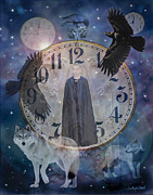 Clocks Digital Art Framed Prints - Guardians of Time Framed Print by Judy Wood