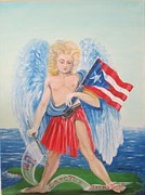 Guardian Angel Posters - Guarding Puerto Rico Poster by Estrella Rivera