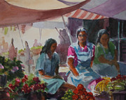 Marketplace Painting Framed Prints - Guatemala Market Two Framed Print by John OConnor