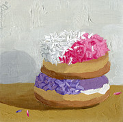Donuts Painting Originals - Guava Filled over the Grape Ape by Guenevere Schwien