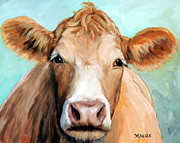 Guernsey Posters - Guernsey Cream Cow on Light Green Poster by Dottie Dracos