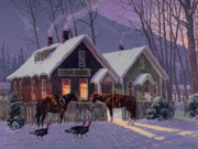 Winter Night Prints - Guest For Dinner Print by Randy Follis