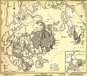 Old Map Paintings - Guide Map of Acadia National Park 1949 by MotionAge Art and Design - Ahmet Asar