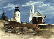 Pemaquid Lighthouse Painting Framed Prints - Guiding Light  Framed Print by Nancy Patterson