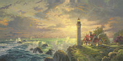 Lighthouse Sunset Posters - Guiding Light Poster by Thomas Kinkade