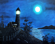 Moonlit Night Prints - Guiding Lights Print by Barbara Griffin
