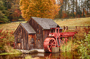 Red Barn. New England Digital Art Prints - Guildhall grist mill Print by Jeff Folger