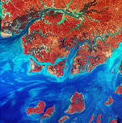 West Africa Digital Art - Guinea Bissau by USGS Landsat