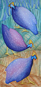 Abstract Wildlife Paintings - Guinea Fowls by Christelle Grey