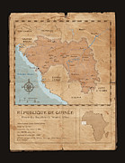 Old Map Digital Art Framed Prints - Guinee Map Framed Print by Dave Kobrenski