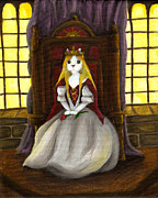 Camelot Painting Prints - Guinefurre Cat Queen Print by Tara Fly