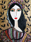 Serfinski Painting Originals - Guinevere dressed in gems by Karen Serfinski
