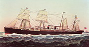 Lithographs Framed Prints - Guion Line Steampship Arizona of the Greyhound Fleet Framed Print by Currier and Ives
