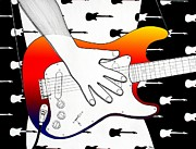 Stratocaster Drawings Prints - Guitar 1 Print by Joseph J Stevens