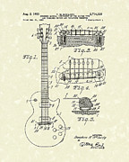 Patent Drawings Prints - Guitar 1955 Patent Art Print by Prior Art Design