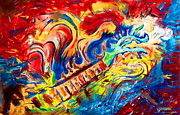 Southern Indiana Painting Posters - Guitar Abstract Original Painting by Eric Drury Poster by Eric Dru Stephenz Drury