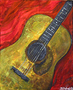 Guitar Painting Originals - Guitar acrylic painting on canvas by Dez Sziklai