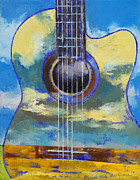 Heavy Metal Paintings - Guitar and Clouds by Michael Creese