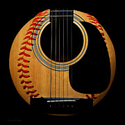 Baseball Art Mixed Media Posters - Guitar Baseball Square Poster by Andee Photography