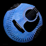 Sports Digital Art Metal Prints - Guitar Blueberry Baseball Square Metal Print by Andee Photography