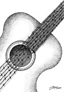 Acoustic Guitar Drawings - Guitar by Boyan Donev