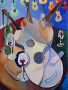 Wine Bottle Paintings - Guitar Celebration by Frederick Luff  GALLERY