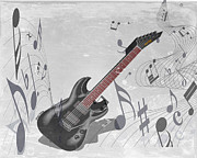 Listen Prints - Guitar Print by Cheryl Young