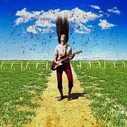 Electric Photo Originals - Guitar girl surrealism by John Jamriska