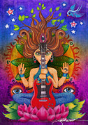 Hindu Goddess Drawings Framed Prints - Guitar Goddess Framed Print by Julie Oakes