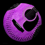Baseball Digital Art Metal Prints - Guitar Grape Baseball Square Metal Print by Andee Photography