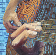 Guitar Player Painting Originals - Guitar Hands by Andrea Santee