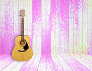 Celebrities Pyrography - Guitar in old room background by Thanapol Kuptanisakorn