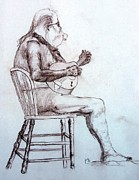 Chair Drawings - Guitar in the buff by Henry Gonzales