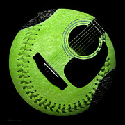 Baseball Digital Art Metal Prints - Guitar Keylime Baseball Square  Metal Print by Andee Photography