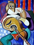 Cubist Digital Art Posters - Guitar Man Poster by Anthony Falbo