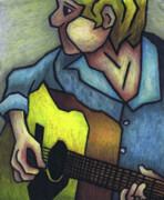 Oil Pastel Prints Originals - Guitar Man by Kamil Swiatek