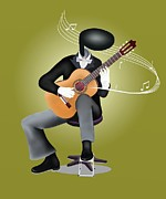 Acoustic Guitar Paintings - Guitar Man playing Guitar with Musical Notes and Sound Waves by Iam Nee