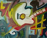 Guitar Painting Originals - Guitar Muse in C Sharp by James  Christiansen